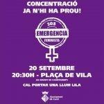 La nit del 20-S serà violeta: Concentració en contra els assassinats masclistes divendres al vespre a Cunit