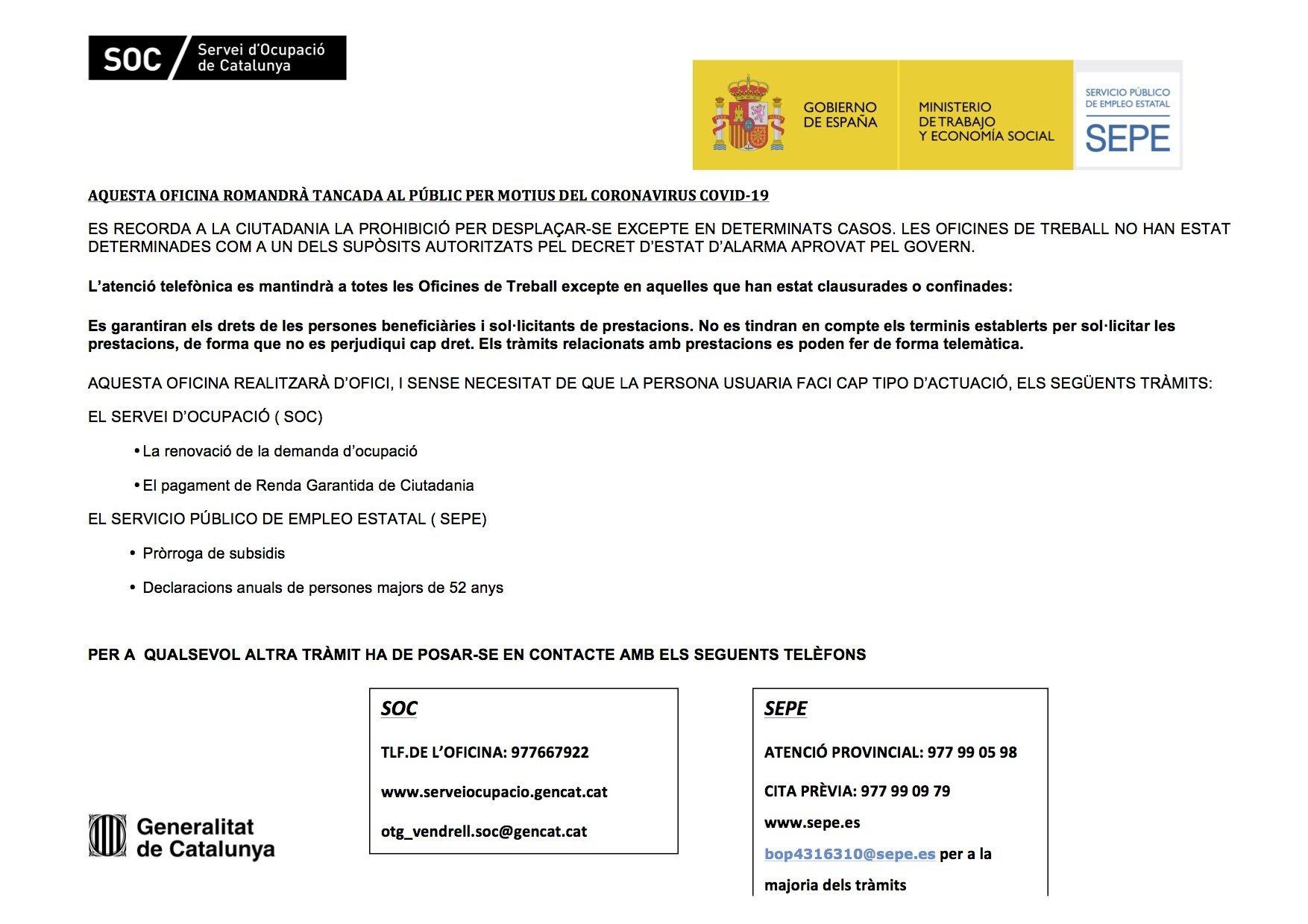 Read more about the article Actualització – Avís de l'Oficina de Treball de la Generalitat del Vendrell i del SEPE