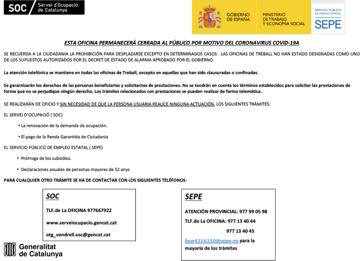 Read more about the article Avís de l'Oficina de Treball de la Generalitat del Vendrell i del SEPE