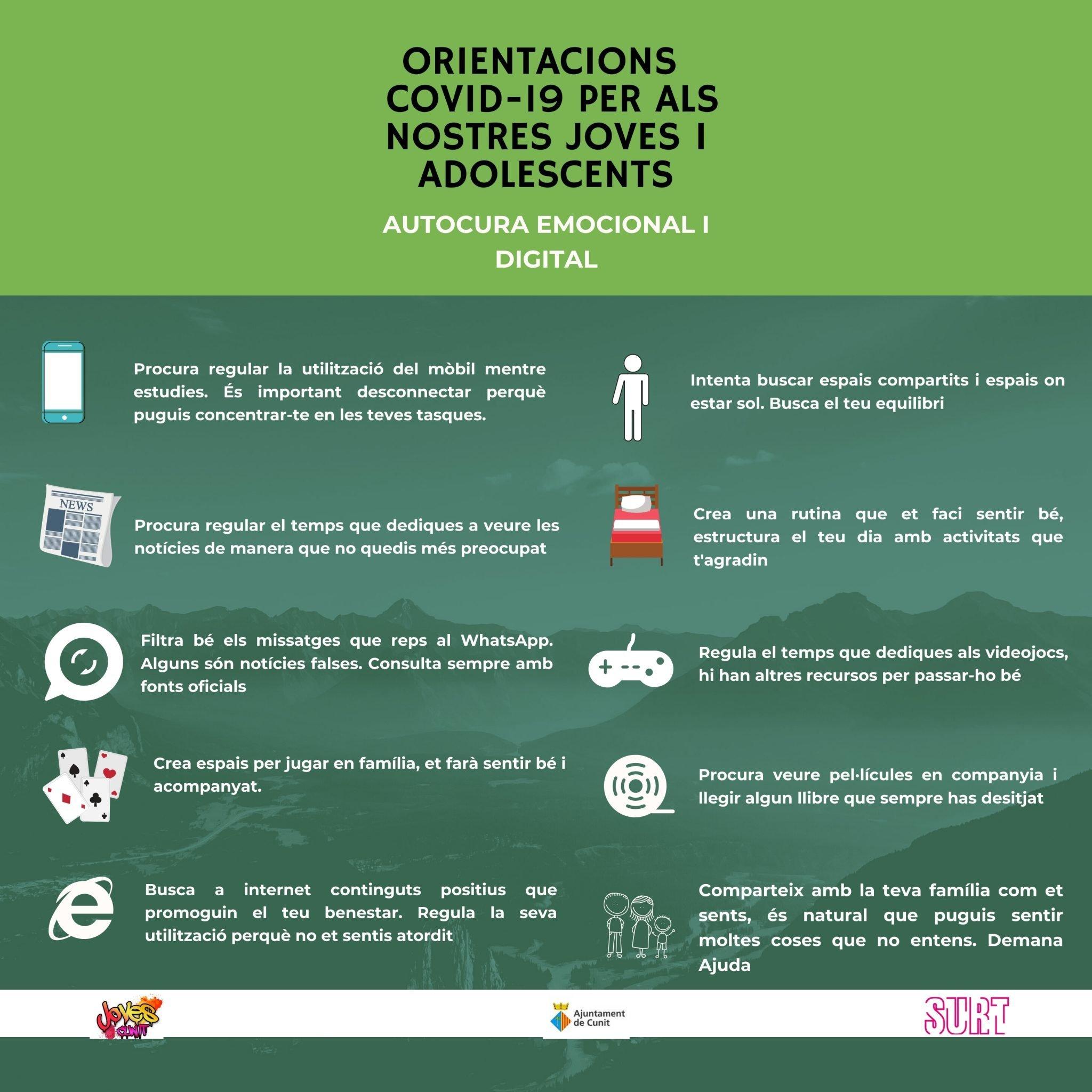 Orientacions COVID-19 per als nostres joves i adolescents