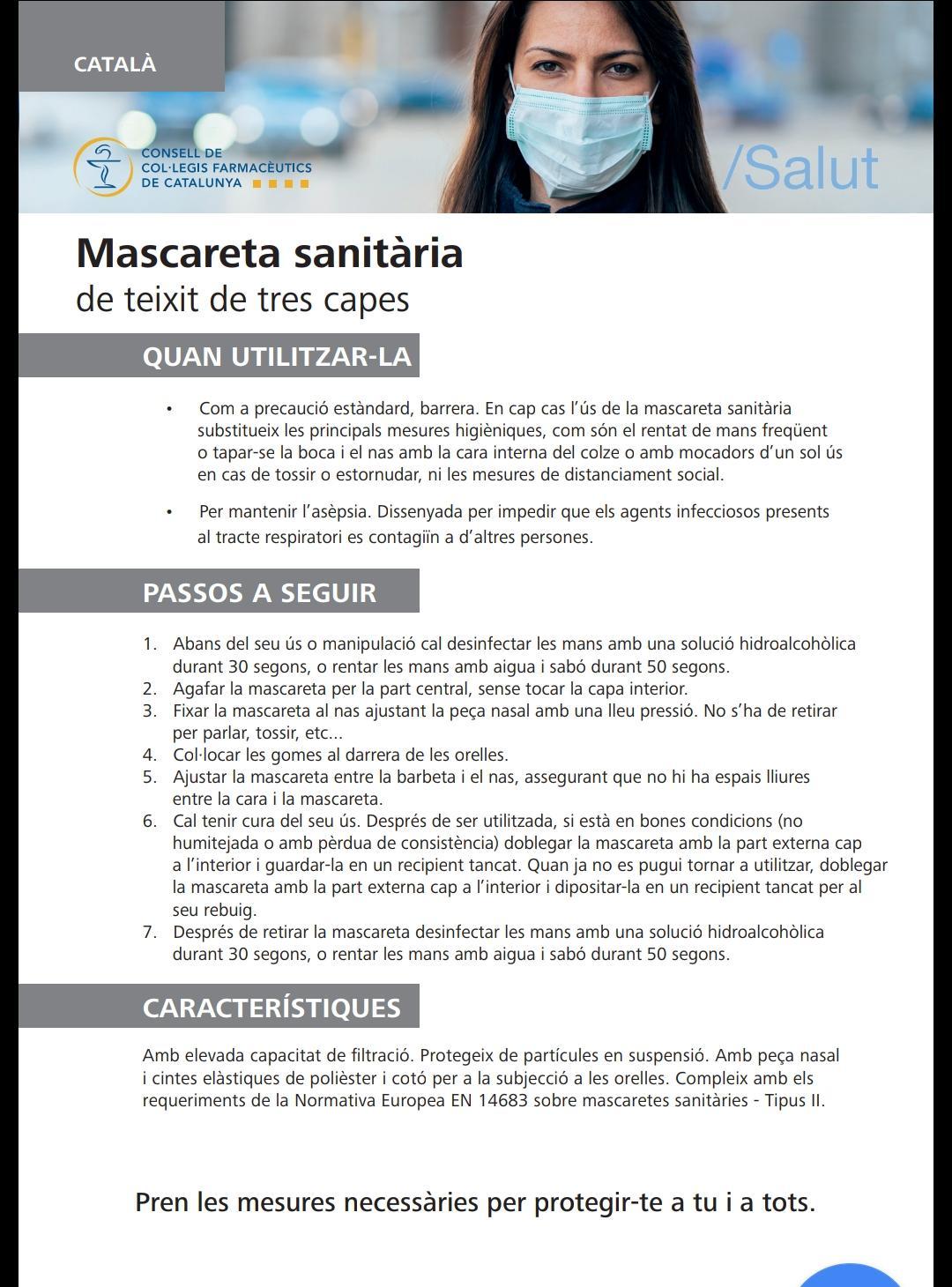 Dilluns 20 d'abril arriben 400 mascaretes a cada farmàcia de Cunit
