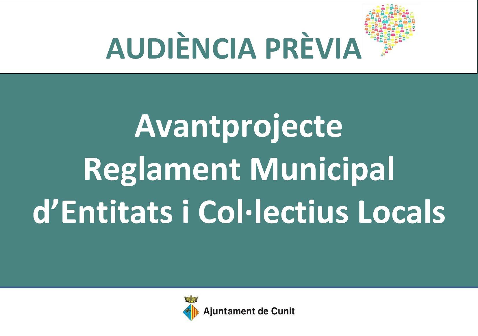 S'obre a l'audiència de la ciutadania la proposta de Reglament Municipal del Registre d'Entitats i Col·lectius Locals