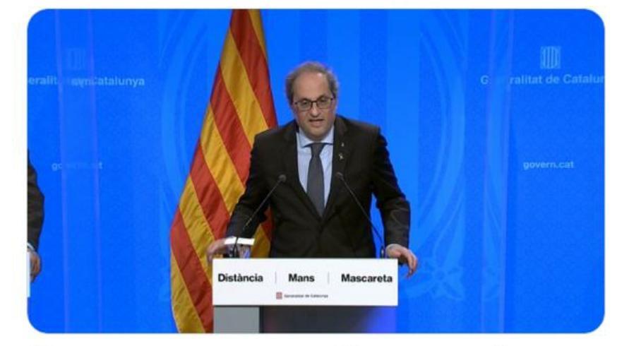 """""""Comença la fase de represa"""": el president de la Generalitat de Catalunya anuncia que la fase 3 s'acaba aquesta mitjanit"""
