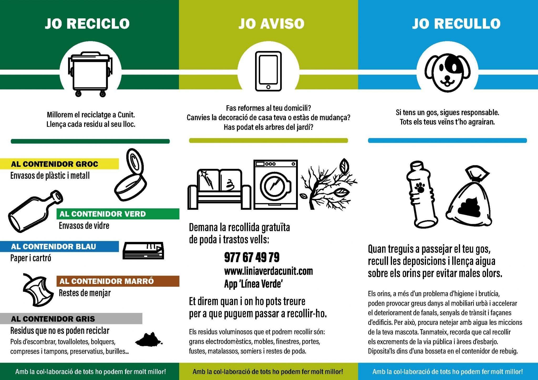 Es reprén la campanya de sensibilització i reciclatge a Cunit