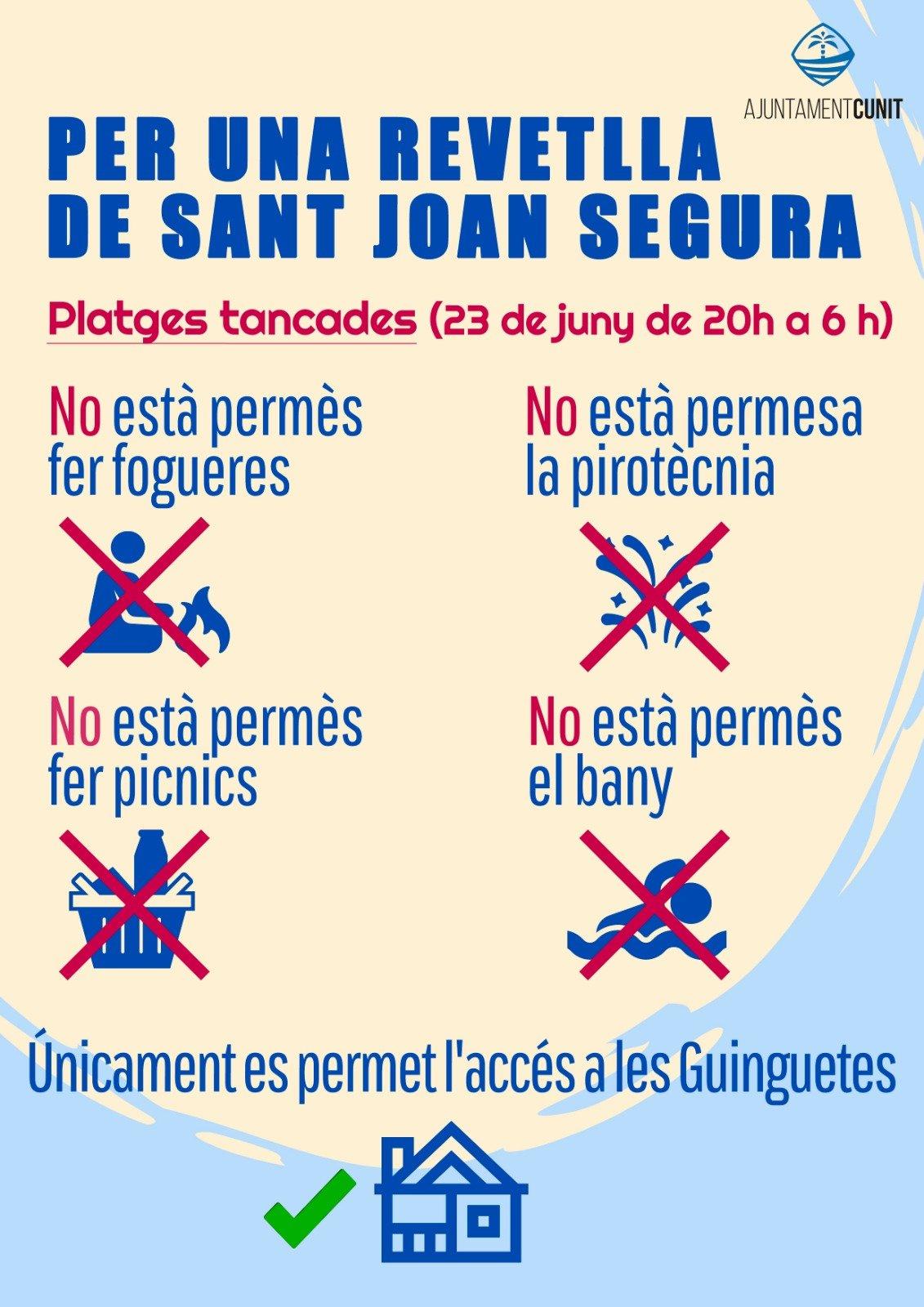 Read more about the article Cunit tanca les platges per la Revetlla de St Joan