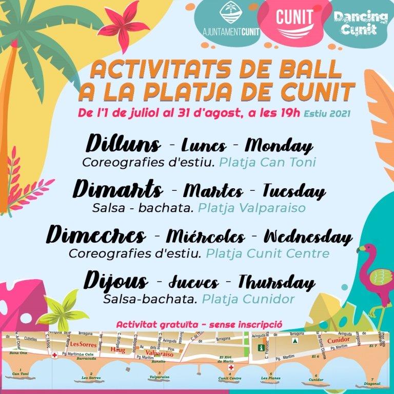 Read more about the article Tornen les activitats de ball dirigides a la platja de Cunit