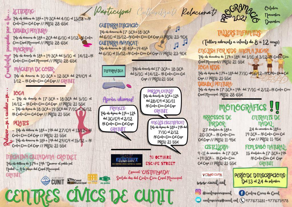 Read more about the article Obertes les inscripcions als 20 Cursos dels Centres Cívics