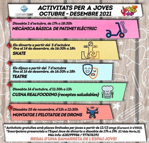 Read more about the article Inscripcions obertes a les activitats de l'Espai Jove (oct-des '21)